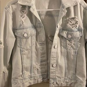 Light washed ripped jean jacket